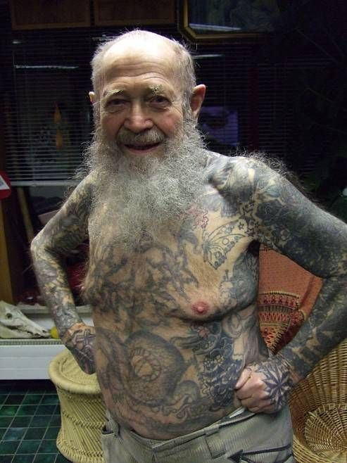 old woman with tattoos